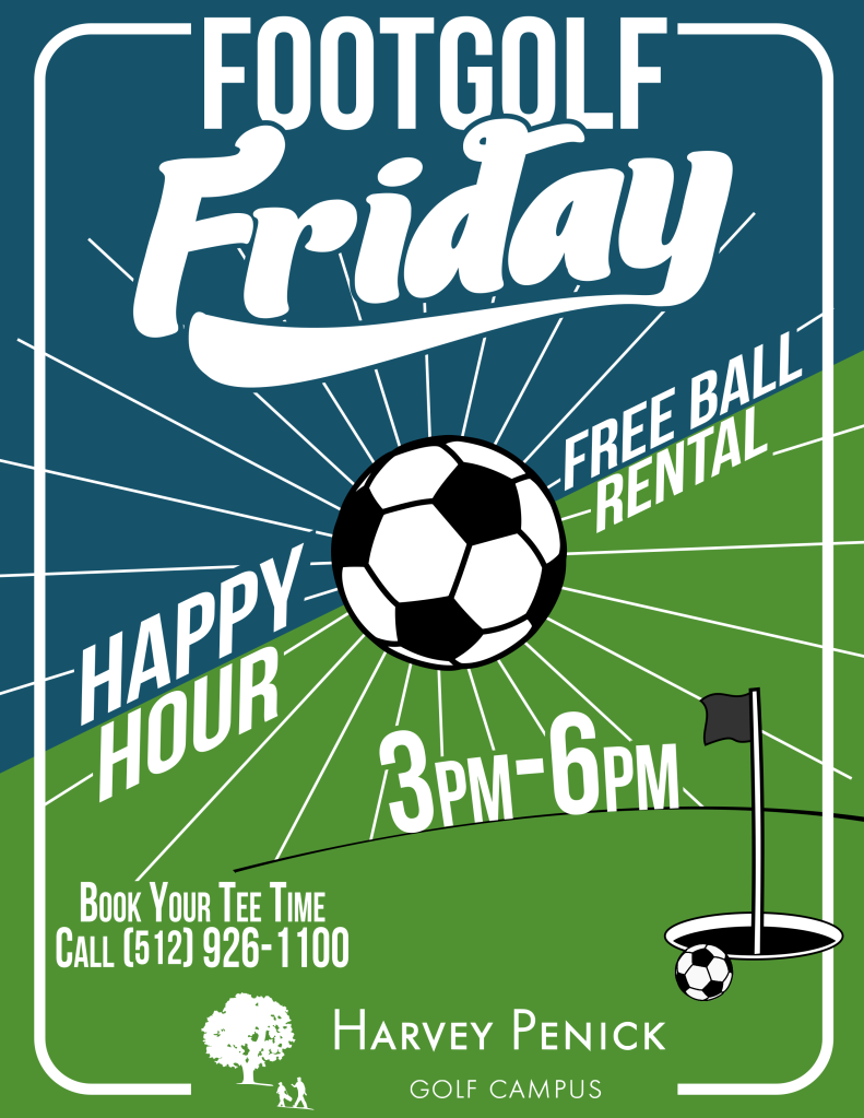 Footgolf Friday - Free ball rental from 3:00 to 6:00 pm every Friday